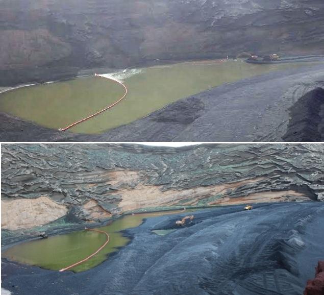 Imágenes tomadas en enero y marzo de este año, donde se observa la recupración de la laguna.