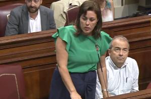 Astrid Pérez, durante su intervención en el Parlamento.